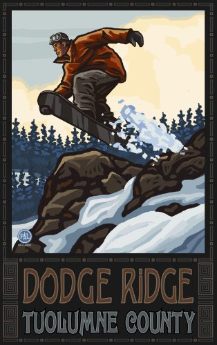 Northwest Art Mall Doge Ridge Tuolumne County Snowboarder Jumping Hills Rocks Artwork by Paul A. Lanquist, 11-Inch by - South County Mall