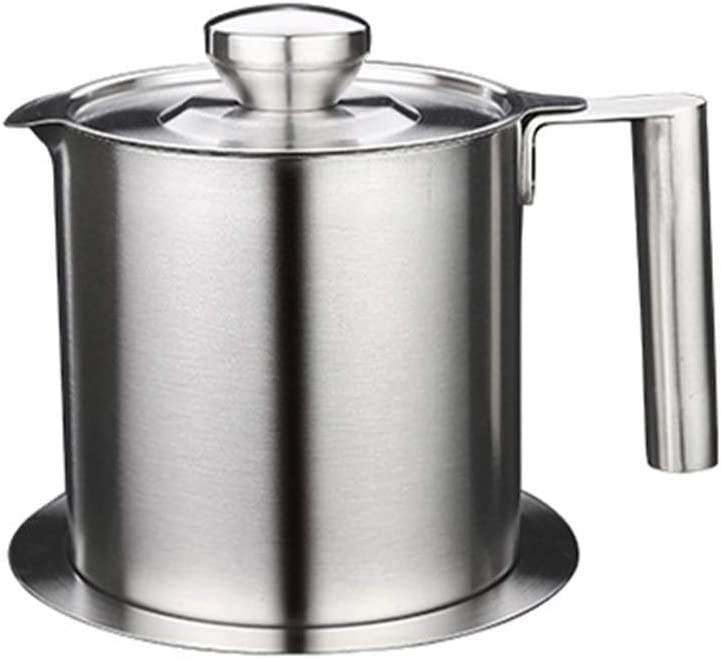 Grease Strainer Stainless Steel Grease Container Oil Storage Pot Grease Keeper Can with Dust-Proof Lid & Easy Grip Handle for Bacon, Kitchen Cooking or Frying Oil