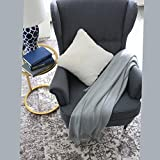 100%Cotton Smooth Soft Tassel Knitting Throw Blanket Home Sofa Bed Throw Export Europe,By Galaxytree (Gray)