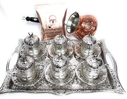 Silk Road Tin - 25 Pieces Espresso/Turkish Greek Arabic Coffee Full Set (Four-Leaf Clover Design) for 6 Persons Bundle with Unique Large Size Copper Coffee Pot & 1 Pack 3.3 Oz Premium Mehmet Efendi Turkish Coffee