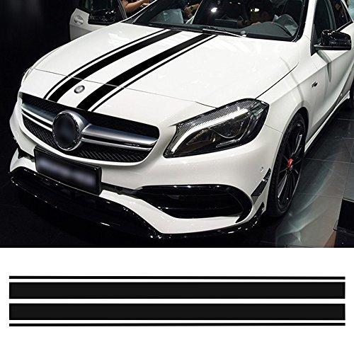 Charminghorse Edition 1 Style Bonnet Stripe Graphics Hood Decal Black Stripes sticker for Mercedes Benz A C GLA GLC CLA 45 AMG W176 C117 W204 W205 (Red)