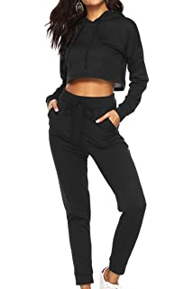 dfe0aa6e69 Womens 2 Piece Outfits Tracksuits Set-Pullover Hoodie Tops Sweatshirt and  Skinny Pants Sweatsuit Set