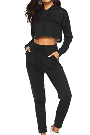 ff7ac662903 Women s 2 Piece Sweatsuit Set Crop Hoodie and Pants Black Size S