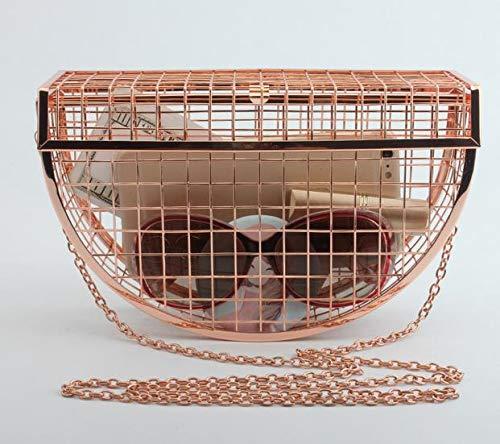 tracolla a sera Argento Rosa cava Unico Oro signore fashion della borse borsa gabbie tracolla a di borsa design delle borsa metallo della personalità del partito frizione Pnizun Nuovo 71wCqRp