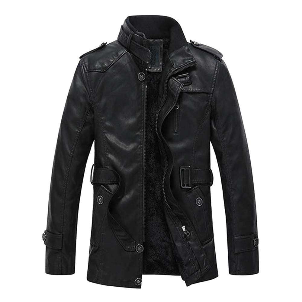 YKARITIANNA Men's Autumn Winter Casual Faux Leather Jackets with Pocket, Comfy Slim Fit Button Down Coats Top for Men by YKARITIANNA Mens Tops