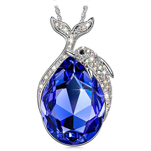 Kate Lynn Necklaces for Women Jewelry Gift Women Blue Crystals from Swarovski Dolphin Pendant Necklace Jewelry Valentine Gifts for Her Birthday Gifts for Anniversary for Daughter Girl Grilfriend ()