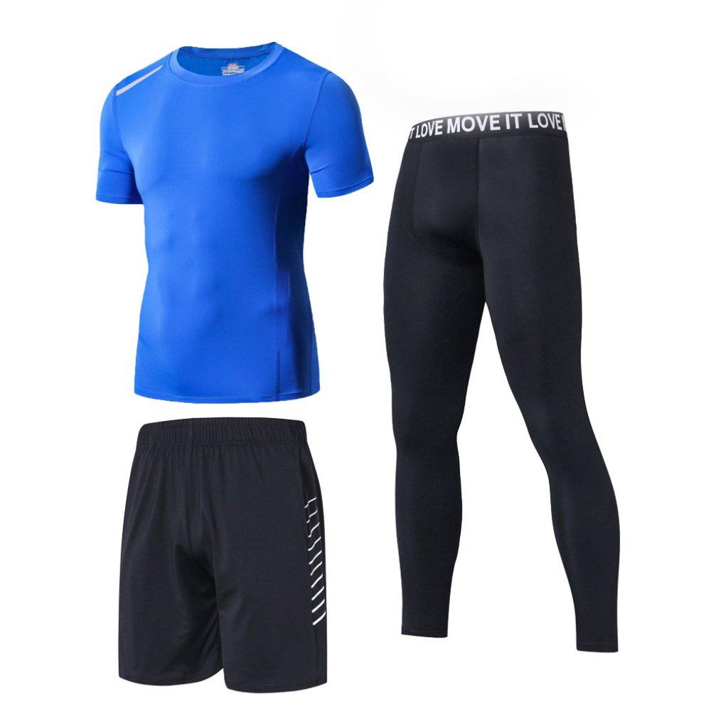 YXLONG Sport Anzug Männer Laufbekleidung Strumpfhosen Gym Schnell Trocknende Kleidung Professionelle Dünne Morgenlauf Dreiteilige Anzüge