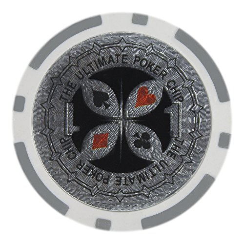 Poker Pro Clay Poker (Brybelly Laser Inlay Poker Chips Heavyweight 14-gram Clay Composite - Pack of 50 ($1 Gray))