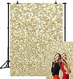 CapiSco 5X7FT Glitter Backdrop Golden Spots Backdrop Vinyl Photography Background for Newborn Baby Child Adult Portrait Birthday Party Photography Backdrop Photo Studio Photobooth Props SCO07
