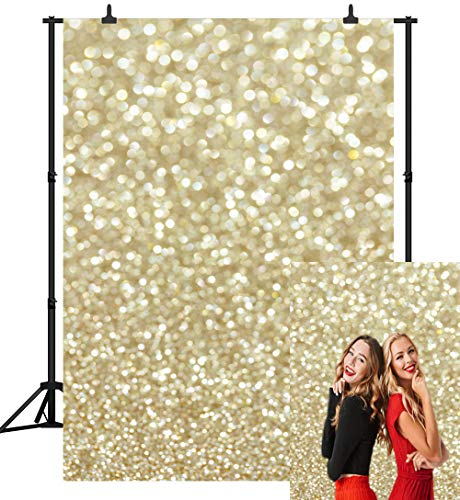 Custom Photo Booth Backdrop (CapiSco 5X7FT Gold Bokeh Backdrop Golden Shiny Glitter Background for Newborn Baby Child Adult Portrait Birthday Party Photography Backdrop Photo Studio Photobooth Props)