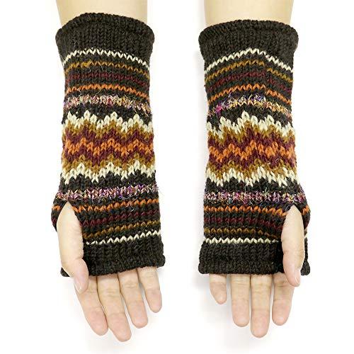 CFrost Women's Hand Knit Zig Zag Fuzz Fingerless Arm Warmer Gloves by C Frost (Image #1)