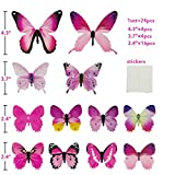 FLY SPRAY 24pcs Vivid Pink Butterfly Mural Decor