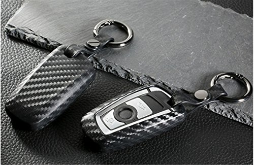 M.JVisun] Soft Silicone Rubber Carbon Fiber Texture Cover Protector for BMW Key Fob, Car Keyless Entry Remote Key Fob Case for BMW X3 X4 M5 M6 GT3 GT5 1 2 3 4 5 6 7 Series - Black - Round Keychain