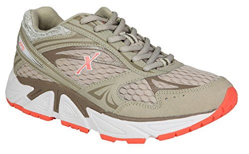 Xelero Genesis Women's Comfort Therapeutic Extra Depth Sneaker Shoe: Grey/Salmon 6.5 Wide (D) Lace by Xelero