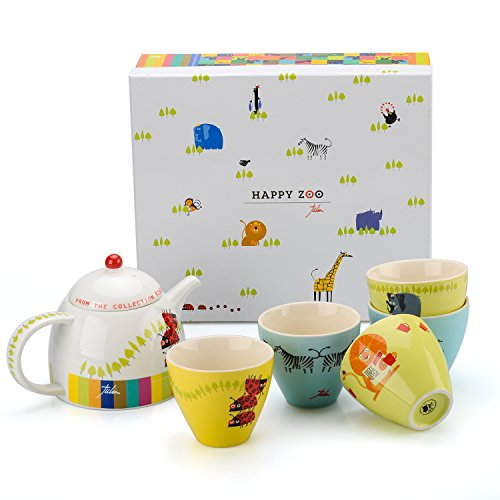UPC 751109450080, Happy Zoo 6pc Tea Set Japanese Edition Kidzoo By Julien Chung