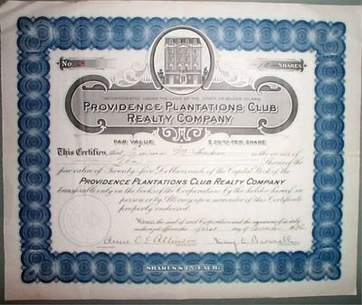 Original 1926 Providence Plantations Club Realty Co. Stock Certificate