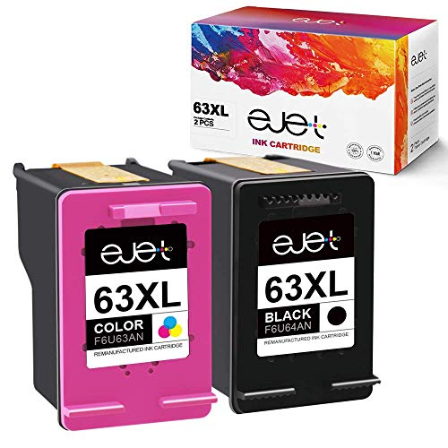 ejet Remanufactured Ink Cartridge Replacement for HP 63XL 63 XL to use with OfficeJet 3830 Envy 4520 4512 Officejet 4650 5255 Deskjet 1112 3634 3632 Printer (1 Black, 1 Color, with Upgraded Chip) ()