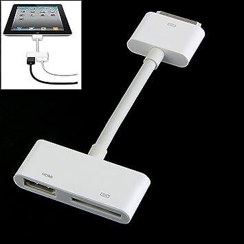 ca2b673b410 mycs iPad a HDMI TV AV Cable adaptador de vídeo HD para 30 pin Dock para  iPad 2 3 iPhone 4 4S iPod Touch 4 G iOS 8 9: Amazon.es: Electrónica