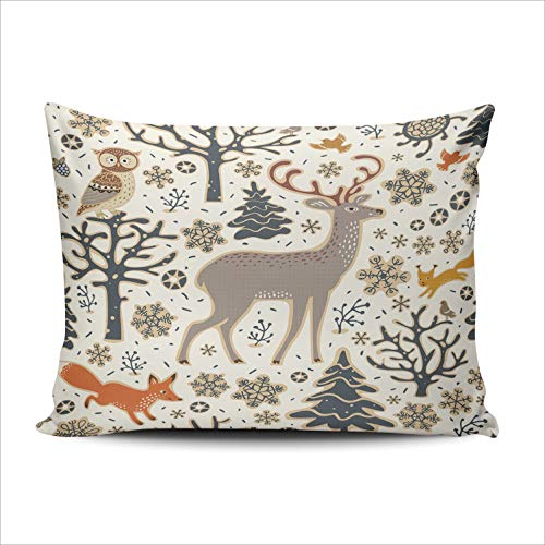 XIUBA Pillowcases Winter Forest Owl Deer Fox Squirrel Birds Customizable Cushion Decorative 20x30 Inch Queen Size Throw Pillow Cover Case Hidden Zipper One Sided Design Printed (Bath Squirrel Woodland Bird)