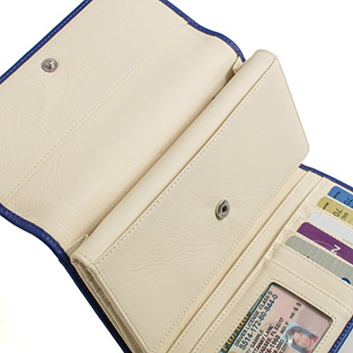 RFID Wallet Two Tone Dual Compartment Clutch (Indigo/Ivory)