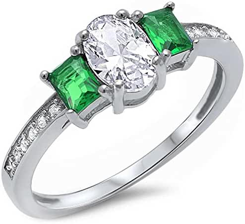 Oval Shape Simulated Green Emerald & Cubic Zirconia .925 Sterling Silver Ring Sizes 5-10