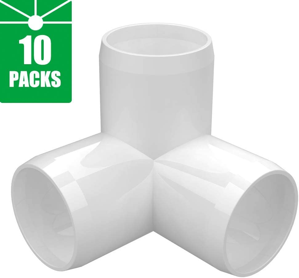 3-Way 1 inch PVC Fitting,Tee Pipe Fittings PVC Connectors - Build Heavy Duty Furniture Grade for 1 inch Size Pipe,White [Pack of 10]
