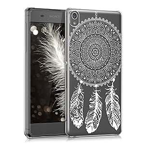 kwmobile Funda para Sony Xperia XA - Carcasa de [plástico] para móvil - Protector [Trasero] en [Blanco/Transparente]