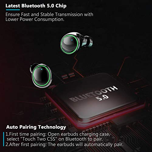 Wireless Earbuds, Dveda Bluetooth 5.0 Wireless Headphones, IPX8 Waterproof Premium Stereo Sound Bluetooth Earbuds 150H Playtime with 3500mAh LED Battery Display Charging Case Built-in Mic