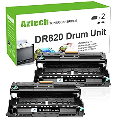 AZTECH 2PK 30000 High Yield Drum DR820 DR-820 DR 820 Drum Unit HL-L6200DW MFC-L5900DW Compatible Brother HLL6200DW HL-L6200DWT HL-L5100DN HL-L5200DW MFC L5850DW L6800DW Laser Printer Drum Unit