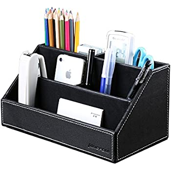 KINGFOM Home Office Wooden Struction Leather Multi-function Desk Stationery Organizer Storage Box, Pen/Pencil ,Cell phone, Business Name Cards, Note Paper, Remote Control Holder (black)