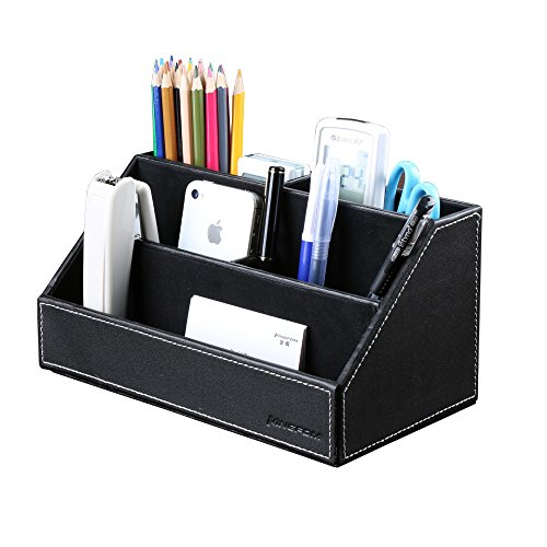 KINGFOM™ Home Offfice Wooden Struction Leather Multi-function Desk Stationery Organizer Storage Box, Pen/Pencil ,Cell phone, Business Name Cards, Note Paper, Remote Control Holder Organizer (black)