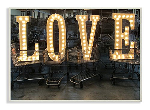 Stupell Home Décor L O V E Lights in Carts Photography Wall Plaque Art, 10 x 0.5 x 15, Proudly Made in USA