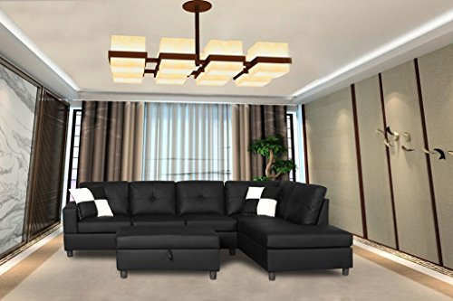Legend 3 Piece Faux Leather Left-Facing Sectional Sofa Set with Free Storage Ottoman, Black