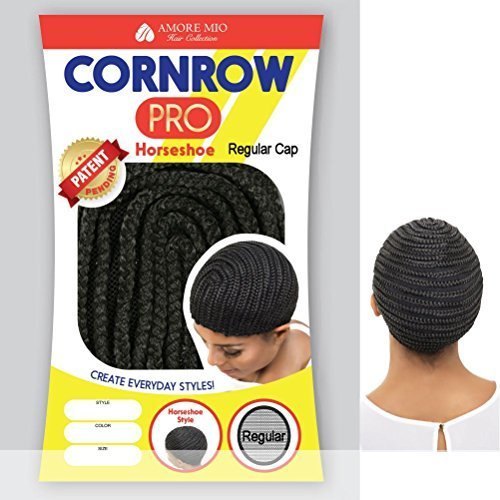 Amore Mio - CORNROW PRO CAP - Horseshoe MEDIUM Mesh Weave Cap in OFF BLACK