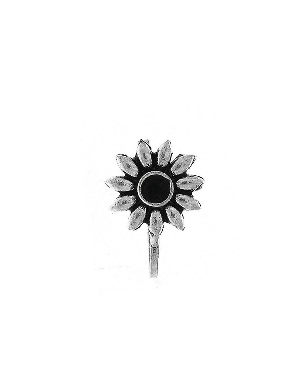 Anuradha Art Silver Finish Flower Styled Fancy Designer Clip-On Nose Ring/Pin For Women/Girls