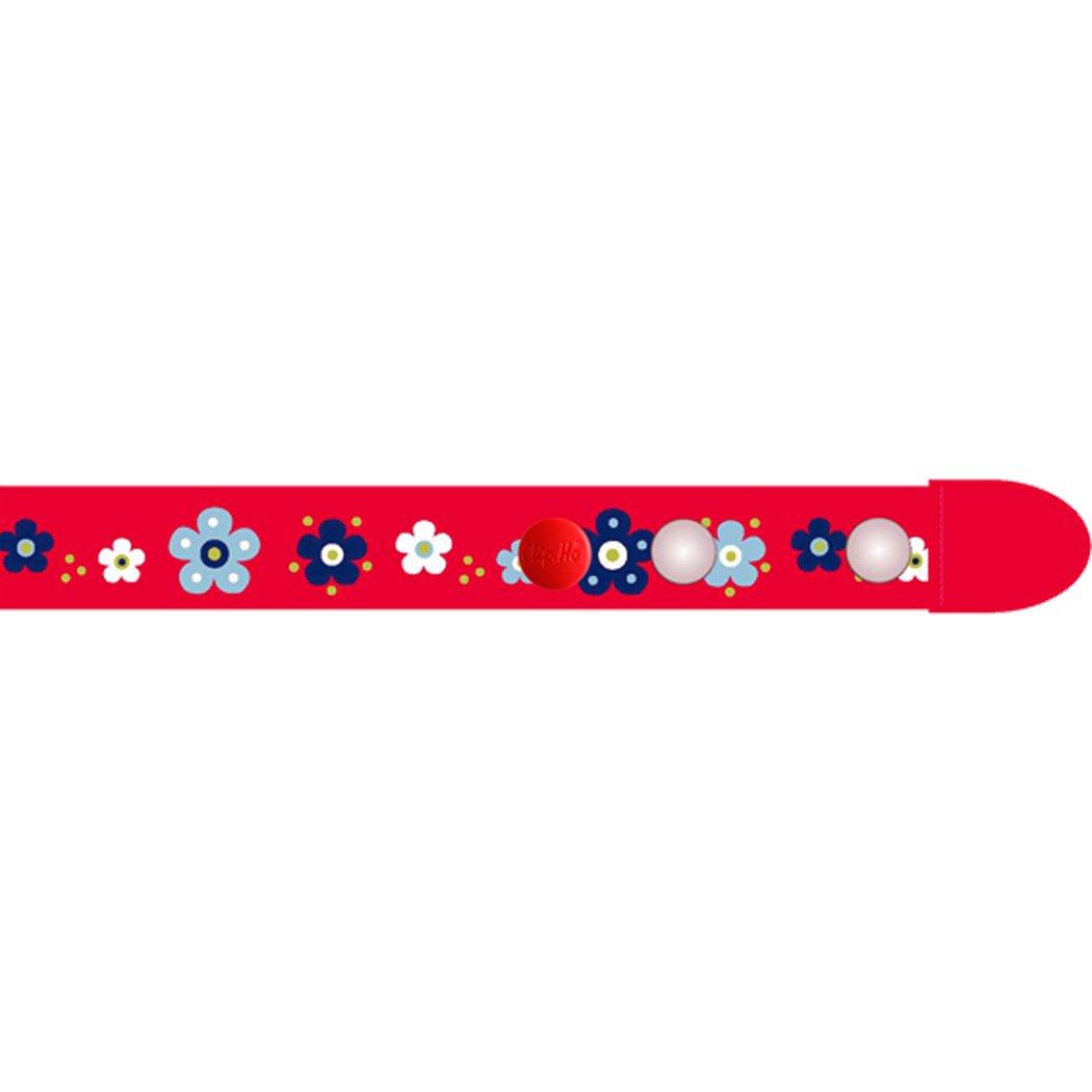 Clip Ho Kinder Gürtel ohne Schnalle (tragbar von 92-116, Blumen rot)