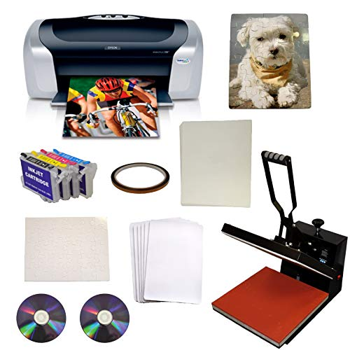 15x15 Heat Transfer Press Epson C88+ Printer Ink Kit Puzzle Mouse Pad Bundle (Best Epson Printer For Heat Transfers)