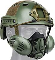 PJ Type Airsoft Helmet Sets, with Tactical Mask, Equipped Side Rails and NVG Mount, for Outdoor Paintball Hunt