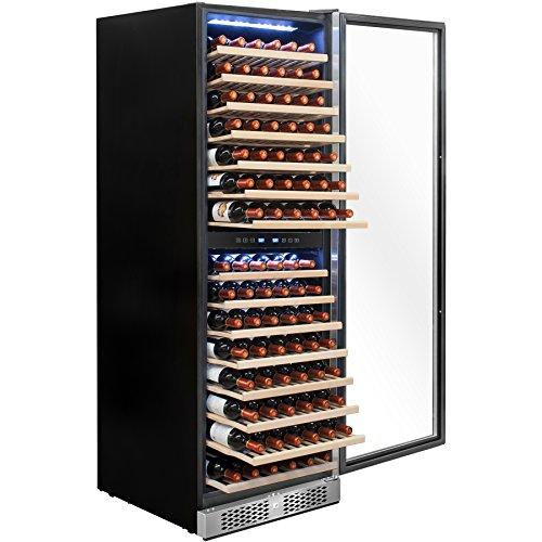 AKDY 160 Bottles Dual Zone Freestanding Touch Control Adjustable Wine Cooler Refrigerator w/ Built-in (160 Bottle Wine Cooler)