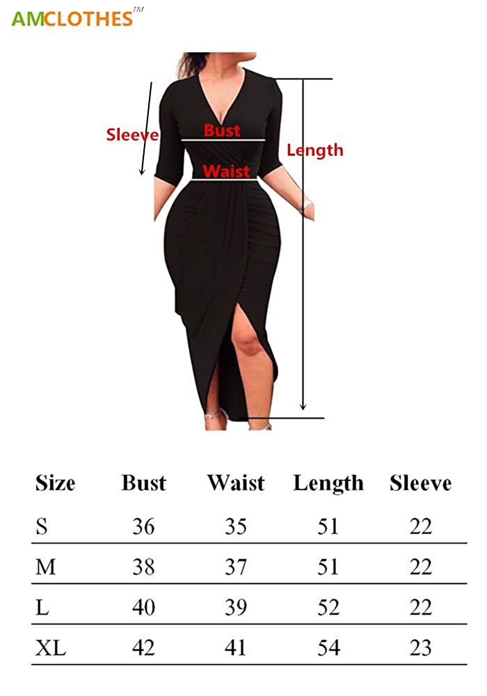 23b4bb0ea28d8 AM CLOTHES Club Dress for Women Sexy Ruched Bodycon Asymmetrical Hem V Neck  Midi Dresses at Amazon Women's Clothing store: