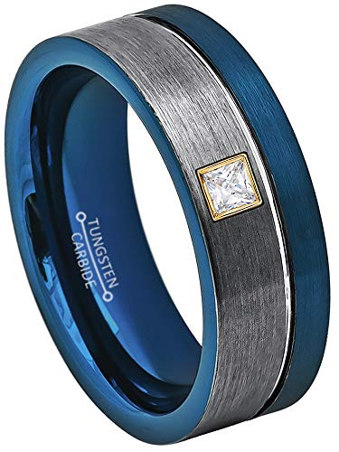 0.10ctw Solitaire Princess Cut Diamond Tungsten Ring - 8MM Brushed 2-Tone Blue Pipe Cut Tungsten Carbide Wedding Band - April Birthstone Ring - s15 ()