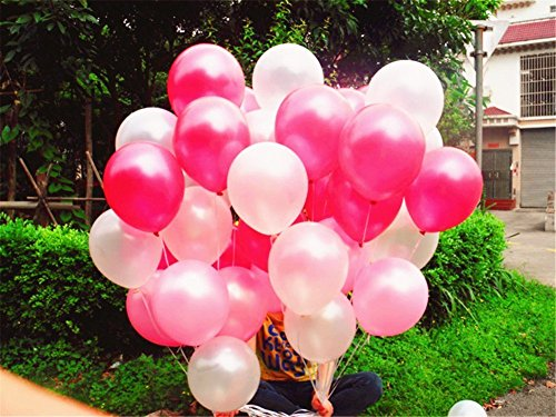 72Pcs/Lot 12 Pearl Balloons Thicked Latex Balloons Baby Shower Birthday Party Wedding Decoration (ROSEO&Pink &White)