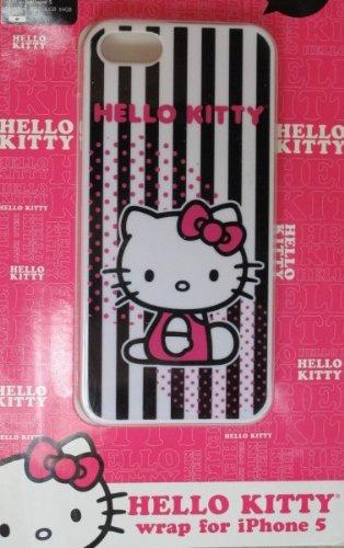 Hello Apple Sanrio Kitty (Sanrio Hello Kitty Wrap for iPhone 5 - black & white stripe)