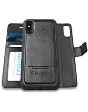 AMOVO Case for iPhone Xs Max [2 in 1] iPhone Xs Max Wallet Case Detachable [Vegan Leather] iPhone Xs Max Flip Case (6.5'') with Gift Box Package