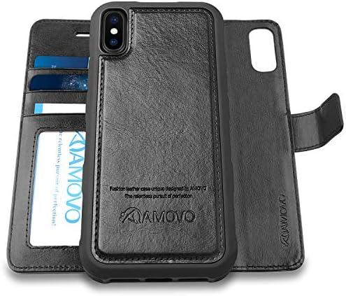 AMOVO iPhone XS MAX ケース 手帳型 分離式 取り外し自由 カード収納 横開き スタンド アイフォン XS (iPhone XS MAX, 黒)