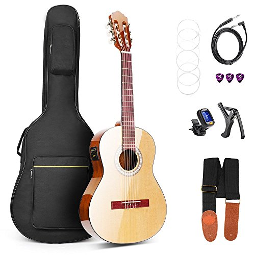 Vangoa 36 Inch 3/4 Size Acoustic Electric Classical Guitar Spruce Wood Travel Guitar Nylon String with Guitar Kit, 2 Band EQ -