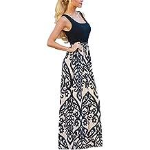 Happy Sailed Women Boho Sleeveless Printed High Waist Casual Maxi Dress