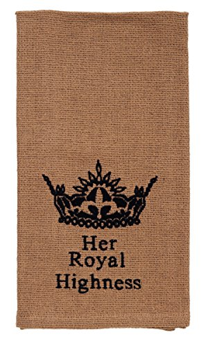 Olivia's Heartland Au Natural Collection Her Royal Highness Burlap Black Crown Cotton Kitchen Accent Dishtowel - Set of - Natural Collection Au