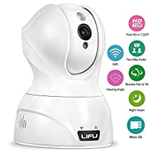 Wireless IP Camera, LIFU 720P Home Security Surveillance HD Pan and Tilt WiFi Camera Built-In Microphone with Night Vision for Pet, Baby Video Monitoring