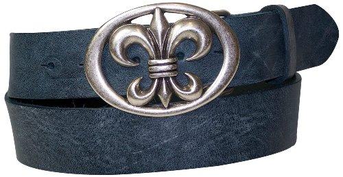 FRONHOFER belt lily buckle, fleur de lis buckle, floral buckle, genuine leather, Size:waist size 27.5 inch XS EU 70 cm;Color:Denim